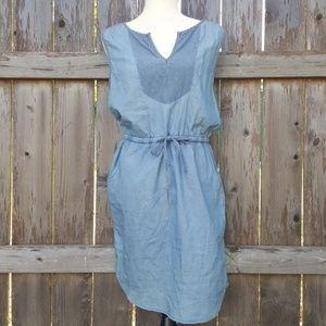 Kensie Jeans Blue Denim Bib Dress Medium NWT
